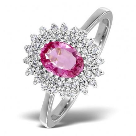 18K White Gold 0.30ct Diamond & 7mm x 5mm Pink Sapphire Ring, DCR13-PSW
